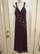 Judith Hart Fine Intimate Apparel Medium 100% Silk Embroidered Purple Long Gown