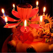 Rotatable perfect musical lotus flower happy birthday candle party present gift/
