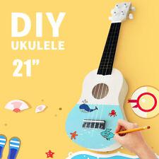 AU 21'' DIY Kit Ukulele Soprano Hawaiian Guitar Uke Kit White Wooden Instrument
