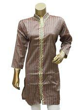Formal Cotton Brown Collar Neckline Embroidered Kurta/Kurti for Women's