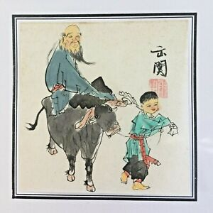 Small Coloured Drawing on Paper Traditional Japanese Signed Man Riding Ox