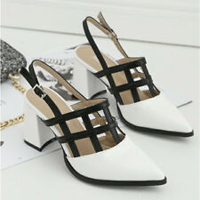 Womens Strappy Mixed Color Hollow Pump Ankle Strap Pointy Toe High Heel Shoes