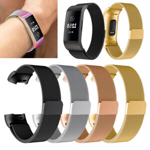 For Fitbit Charge 3 Stainless Steel Metal Loop Watch Band Magnetic Wrist Strap