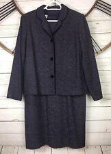 TALBOTS Dress Suit 2 Piece Dress Jacket Set Purple Multi Color Herringbone Sz 10