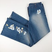 Kenneth Cole Jeans Womens Size 6 Flare Floral Embroidery Raw Hem Blue Denim