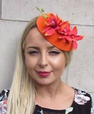 aa527a79203a6 Orange Red Orchid Flower Pillbox Hat Fascinator Races Rockabilly 1950s Vtg  3088