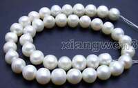 """9-10mm White Natural Round Pearl Beads for Jewelry Making DIY Loose Strand 14"""""""