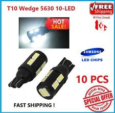 10x T10 Wedge 5630 10-LED License Map Light W5W 168 6000K White HID Bright