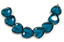 "8 pcs Teal Blue Crystal Heart Glass Beads 20mm heart"" New"