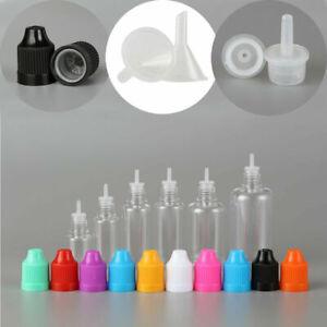 PET Plastic Empty Dropper Liquid Eye Clear Water Bottle Long Tip Cap + Funnels