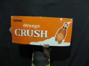 """Porcelain Orange Crush Enamel Sign Size 40"""" x 18"""" Inches"""