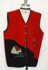 "WOOL Walk Jacket VEST Coat - MADE IN ITALY ~ Women RED Winter SOFT / C48"" 18 XL"