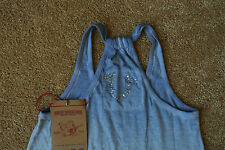 TRUE RELIGION Sexy Tank Top Shirt XS NWT$119 BLING TR Logo's-INK Shaded Blue!