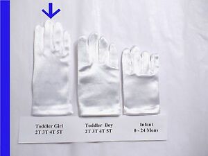 Formal Quality 2T 3T 4T White Stretch Satin Wrist Gloves Easter Pageant NEW