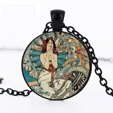 UK ALPHONSE MUCHA PENDANT NECKLACE Vintage Style Art Nouveau Jewellery Gift Idea
