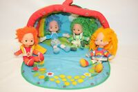 "Vintage Rainbow Brite Lot Tent and 4 10"" Dolls - Fair Condition"