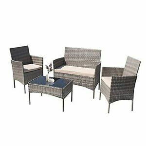 Patio Outdoor Furniture Set 4 Pieces Porch Wicker Chairs Sets Rattan Balcony