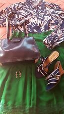 Size 10 Emerald Green Silk Skirt Size 10 Print Top Size 8 Sandals Purse Earrings