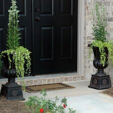 2 PACK Outdoor Planter Pots Large Tall Urn Flower Black Charcoal Stone Pedestal