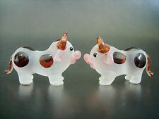 2 Tiny Glass COWS White Brown Spotted Painted Glass Animals Glass Ornaments Gift
