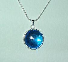 SIMPLE ROUND FACETED BLUE ACRYLIC CRYSTAL PENDANT SILVER PL MOUNT & ROUND CHAIN