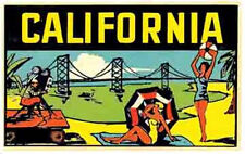 California    Pin-Up Girls   Vintage-Looking 1950's    Travel Decal/Sticker