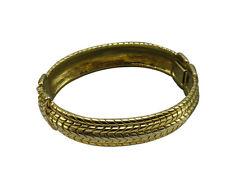 Kenneth Jay Lane KJL Vintage Statement Bracelet Gold Cable Bangle Hinged 209f