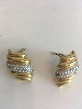 Vintage Swarovski Gold Diamond Clip On Earrings costume jewelry formal tone