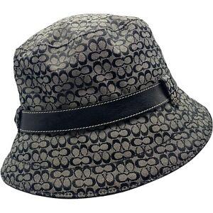 Coach Signature C Logo Black Leather Belt Trim Bucket Hat Womens Size S