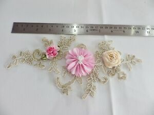 3D Floral Lace Embroidery Bridal Applique Beaded Pearl Tulle Wedding Vintage: C