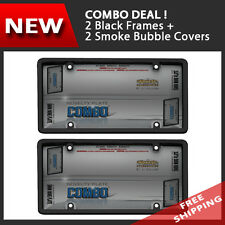Combo - 2 x License Plate Black Frame / 2 x Smoke Tinted Bubble Cover