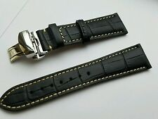 22mm Leather Watch Band Strap with Deployment Clasp for tag heuer carrera Black