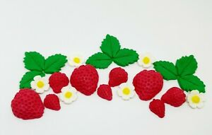 Edible Sugar Strawberries, Leaves and Flowers Birthday Wedding Anniversary Party