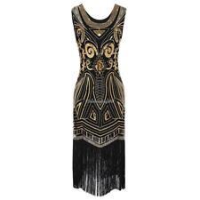 1920s Style Beading Fringe Scoop Sleeveless Flapper Dress C1my Black L
