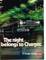 1977 Dodge Charger Black 2-door Coupe Night Scene Vtg Print Ad