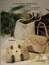 Color Magic, Driftwood & Desert Sand Patterns #7475 Plaid's Purses 'a la Macrame