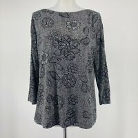 J Jill Wearever Collection Top Black White Floral 3/4 Sleeve Stretch Size Small