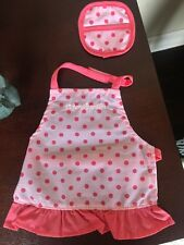 "AMERICAN GIRL GOURMET KITCHEN bakery baking chef apron oven mitt NEW 18"" doll"