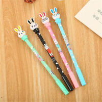 6Pcs Cute Kawaii Colorful Printed Rabbit Gel Ink Roller Ball Point Pen School