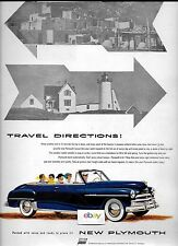 PLYMOUTH 2 DOOR CONVERTIBLE IN NAVY BLUE FOR 1950 TRAVEL DIRECTIONS AD