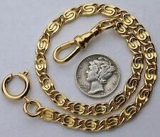 Pocket Watch Chain 14k Gold Plated Scroll Link 10 Inch Made in the USA