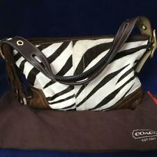 Coach Brown White Zebra Soft AUTH Leather Calf Purse Handbag w/ Dust Cover