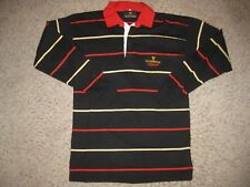 Guinness Beer Irish Long Sleeve Rugby Polo Shirt L Black Striped Team Sewn Rare