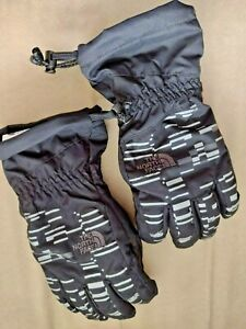 The North Face Dryvent Black Winter Gloves Youth Sz L Drawstring Sking Snowboard