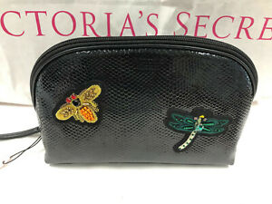 Victoria's Secret Bee & Dragonfly Beaded Bling Cosmetic Makeup Bag NWT