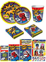 Super Hero Party Table Wear Plates Napkins Cups Table Cover Photo Props Invites