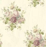 Wallpaper Designer Victorian Floral Cottage Roses, Lavender Purple Blue Green