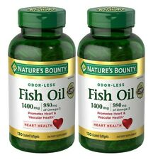 2X Nature's Bounty ODOR-LESS Fish Oil 1400mg, 980mg Omega-3 130 Coated Softgels