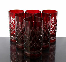 Römer Bleikristall Trink Gläser 6 x(283 RU) Rubin Rot, handgeschliffen Kristall