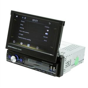 Retractable Car MP5 Player Radio 1DIN 7in Stereo Bluetooth USB TF FM RCA Carplay